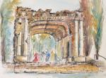 Bayreuth Eremitage Ruinentheater Aquarell