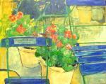 Mein Garten in der Au   Acryl/Lw.  100x80