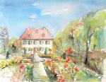 Bayreuth Eremitage Mon Plaisier Aquarell